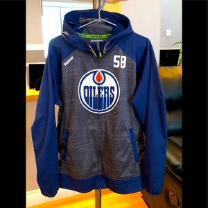 Reebok NHL Men's Oilers Full Zip Jacket- Hood,EUC